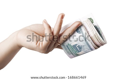 Take your money. Money in a woman's hand