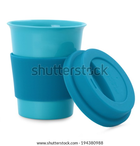 takeaway blue plastic cup isolated on white background