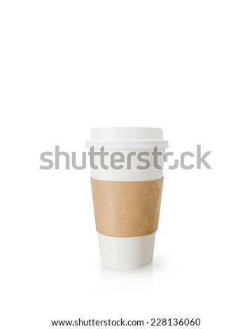 Takeaway coffee cup isolated on white background. - stock photo