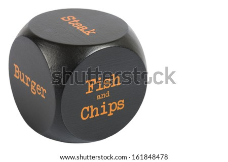 Takeaway Dice. Fish & Chips - Cube with meal options isolated on a white background.  - stock photo