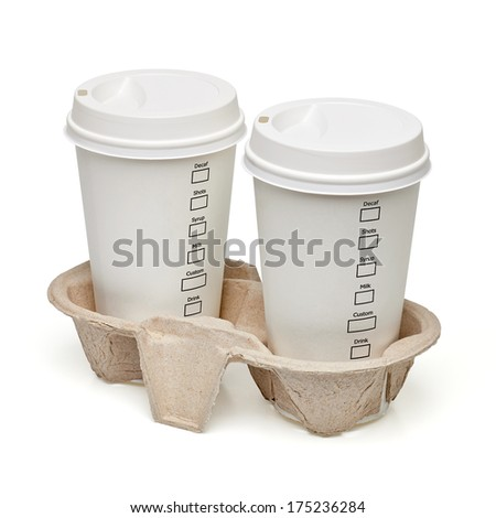 Takeaway filter coffee cups with checkboxes in carry tray including clipping path - stock photo