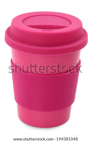 takeaway ping plastic cup isolated on white background  - stock photo