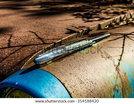 Taken in White, GA, USA on 11/14/15 - A rusty, old, junked car i - stock photo