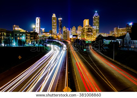 Taken on February 6, 2016 - Time Lapse of Atlanta Traffic - stock photo
