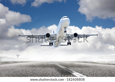 takeoff plane in airport - stock photo
