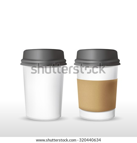 takeout coffee cup templates over white background - stock photo