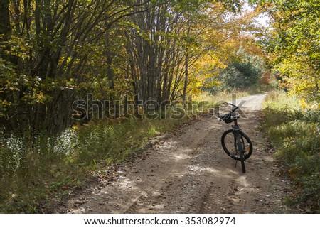 Taking a break while bikng autumn trails in Nova Scotia, Canada. - stock photo