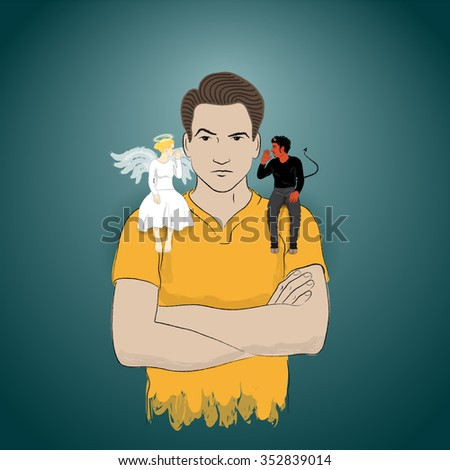 taking advise from angel and or devil in the same time - stock photo