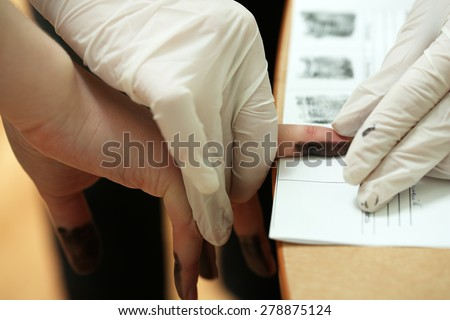 Taking fingerprints - stock photo