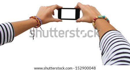 Taking photo on mobile device, isolated on white background - stock photo