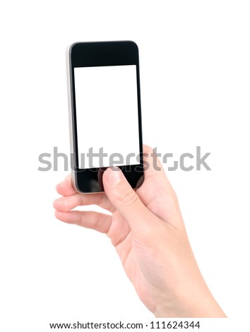 Taking photo on mobile phone concept. Hand holding mobile smart phone with blank screen. Isolated on white. - stock photo