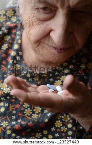 taking pill - stock photo