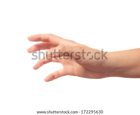 Taking something human hand on white background