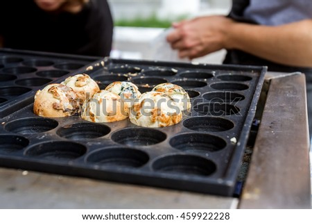 Takoyaki, ball-shaped Japanese snack