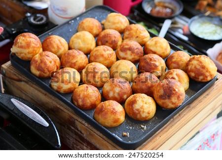 Takoyaki, Meat balls as Japanese style - stock photo