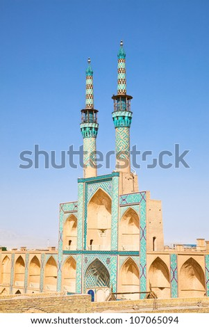 Takyeh Amir Chakhmgh Complex  Mosque in ancient city Yazd, Iran - stock photo
