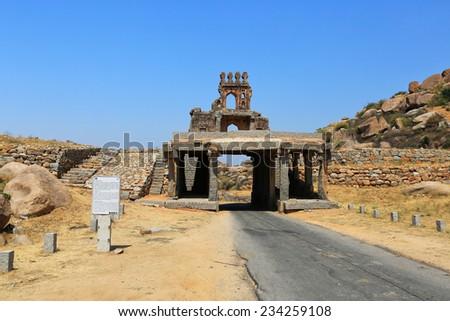 Talarigatta Gate, Hampi (India) - stock photo