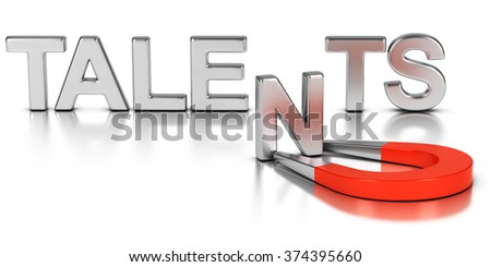 Talent acquisition illustration concept, letter N of the word talents attracted and retained by a magnet over white background - stock photo