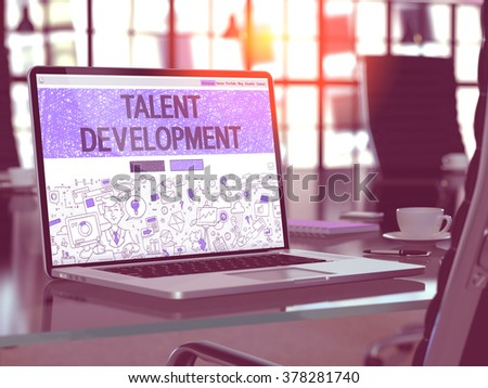 Talent Development Concept - Closeup on Landing Page of Laptop Screen in Modern Office Workplace. Toned Image with Selective Focus. 3D Render. - stock photo