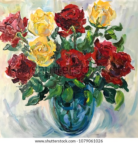 Talented Artist Painted Still Life Flowers Stock Illustration