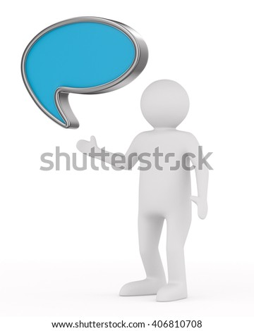 talk balloon on white background. Isolated 3D image - stock photo