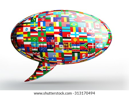 talk bubble language concept with nation flags on white backgound. clipping path included  - stock photo