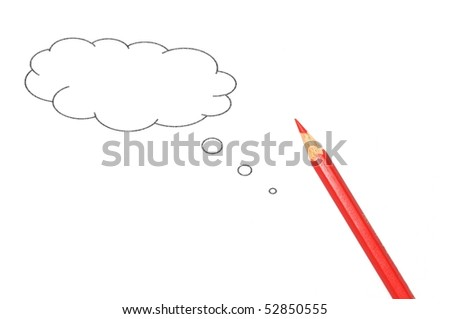 talk bubble with copyspace and pen isolated on a white background - stock photo