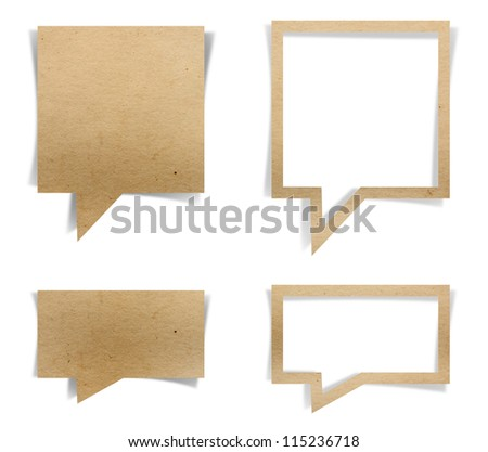 talk origami tag recycled paper craft stick, isolated on white background (Save Paths For design work) - stock photo
