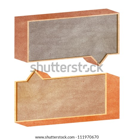 talk tag 3D recycled paper on white background - stock photo