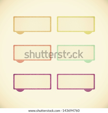 talk tag recycled paper on vintage tone background - stock photo
