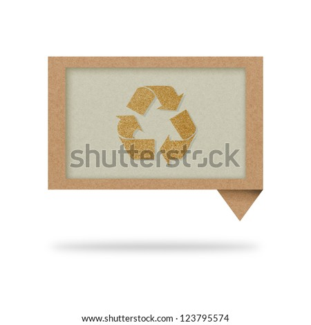talk tag recycled paper with recycle sign - stock photo