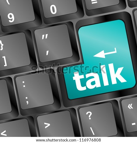 talk word with icon on blue keyboard button, raster - stock photo