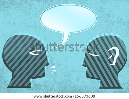 Talking and Art of Listening concept. Two Heads Facing each other. - stock photo