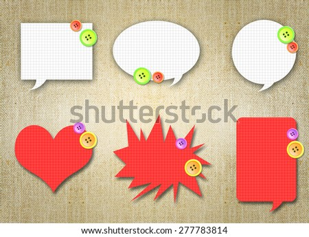 talking balloon bubbles with button design. Art, decoration, artistic, speech, icon,dialog, message, talking, communication, chat, conversation, comment idea design over brown grunge background - stock photo