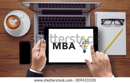 Talking Communication MBA Concept, on the tablet pc screen held by businessman hands - online, top view - stock photo