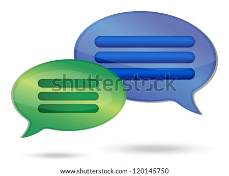 talking message bubbles illustration design over a white background - stock photo