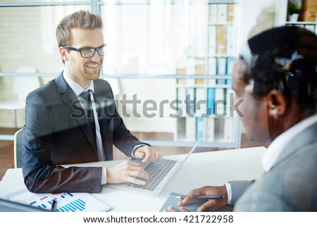 Talking to candidate - stock photo