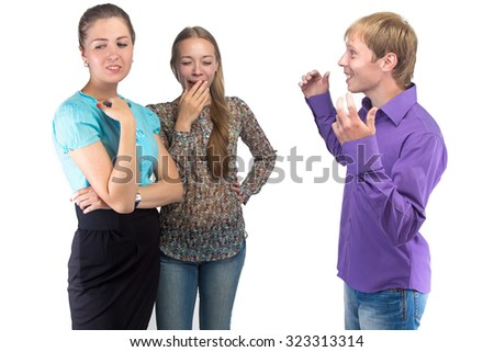 Talking young man and two women on white background