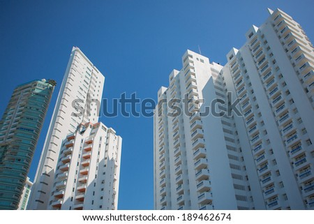 Tall apartment buildings in the modern section of Cartagena, Colombia 2014. - stock photo