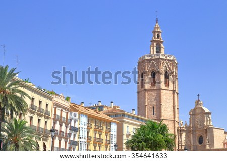 Tall belfry of the Metropolitan Cathedral - Basilica of the Assumption of Our Lady of Valencia (known as Saint Mary's Cathedral or Valencia Cathedral), Valencia, Spain
