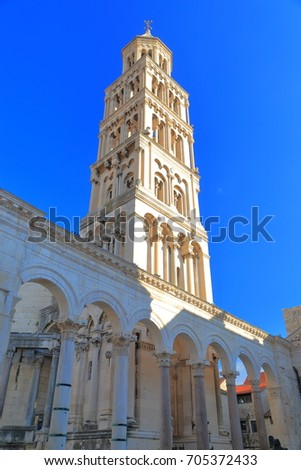 Tall belfry with Venetian architecture inside Diocletian's Palace, Split,  Croatia