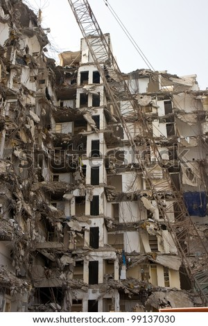 Tall Building during destruction in Abu Dhabi, Emirates - stock photo