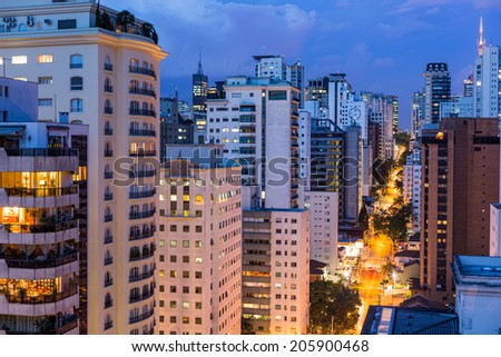 tall buildings at evening in Sao Paulo - stock photo