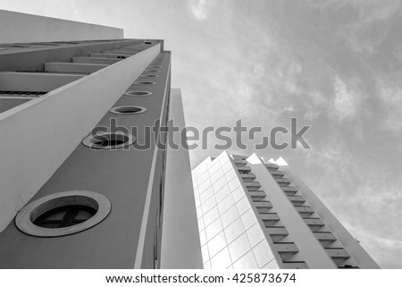 Tall buildings in black and white photo