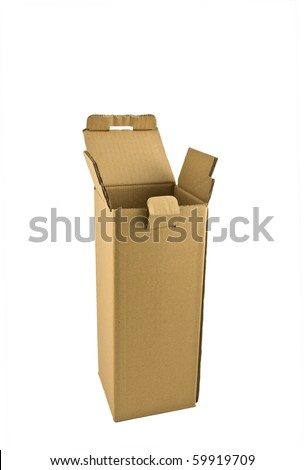 Tall empty cardboard box for shipping isolated on white background in vertical format with copy space