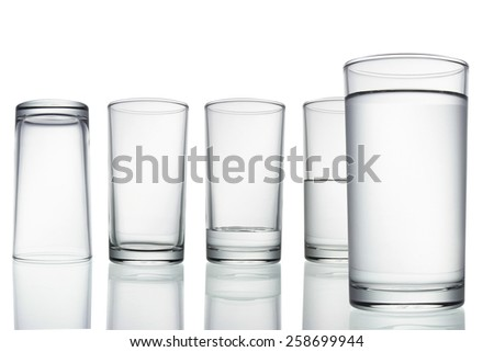 tall empty, half and full glass of water isolated on white