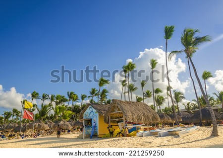 Tall exotic palm tree on one of the Caribbean beaches with hut where you can rent sports equipment, Caribbean Island - stock photo
