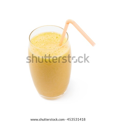 Tall glass filled with the smoothie drink and served with a drinking straw, composition isolated over the white background - stock photo