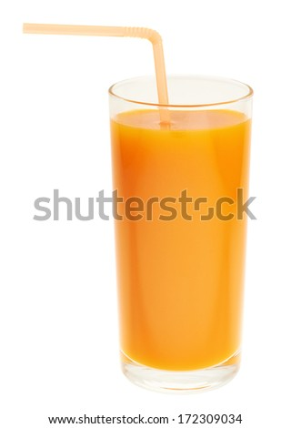 Tall glass full of orange carrot juice with the drinking straw, isolated over white background - stock photo