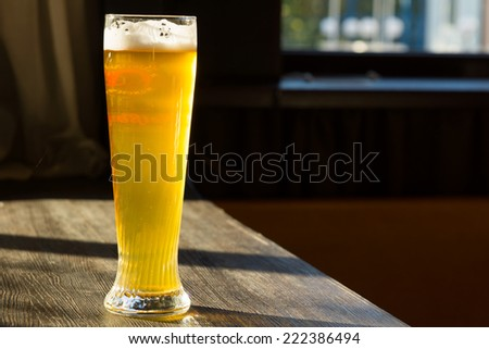 Tall Glass of Beer on Table with Sun Streaming Through Window - stock photo